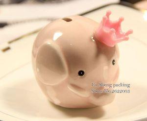 50pcs Elephant banco Piggy cerâmicos carrinhos de bebê caixas de dinheiro com presentes caixa de PVC e favores do chuveiro do bebê batismo partido presente
