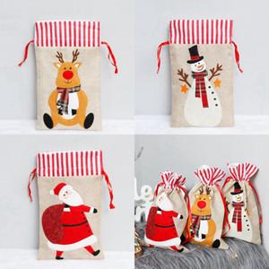 Noel Hediyesi Çanta 19 * 30cm Keten Çanta Santa Çuval İpli Çanta Elk Noel Baba Çocuk Şeker Çanta Noel Süsleri CYZ2823 200pcs
