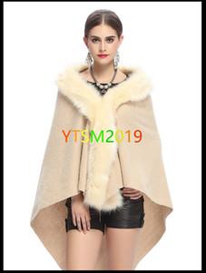 Pelerin kadın Şal Coat kürk yaka Cape ceket Şal Cloak Palto Gevşek Cape Windbreaker fular Örgü