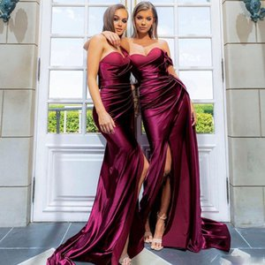 2020 Modest Burgundy Mermaid Side Split Bridesmaid One Shoulder Country Maid Of Honor Gowns Sweep Train Pleated Wedding Guest Dress