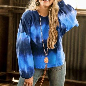 Round Neck Loose Sweatshirt Gradient Color Long-sleeved Tie-dye Top Autumn And Winter Casual Sweatshirt Women