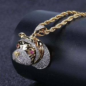 Retro Pet Dog Head Shape Hip Hop Pendant Necklace Micro-inlaid Zircon Hipster Gold Plated Copper Necklace