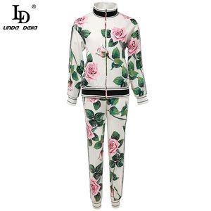 LD LINDA DELLA Designer autunno adatta i pantaloni 2 Due collega gli insiemi di Rose fiore d'epoca Stampa Coat ed eleganti pantaloni Completi donna