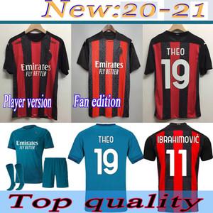 Yetişkin takım çocuklar elbise IBRAHIMOVI AC milan futbol formaları 2020/2021 Player sürümü Fan Edition futbol gömlek Özelleştirilmiş erkekler Futbol Üniformalar