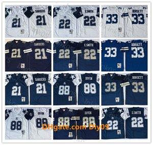 Männer DallasJahrgangCowboys NFL21 Fußballjerseys Deion Sanders Männer 22 Emmitt Smith 33 Tony Dorsett 88 Michael Irvin White Navy