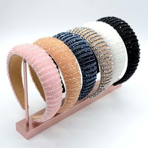 Luxury Women's Full Crystal Rhinestone Sponge Embellished Padded Headband Girl Handmade beaded Hairband Jewelled Hair Accessories