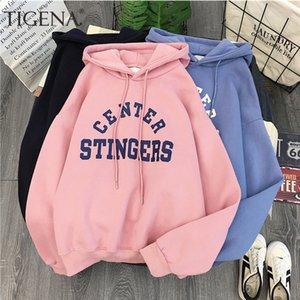 TIGENA, 대형 따뜻한 벨벳 양털, 겨울, 케이팝, 후드 긴 소매 T 셔츠, 여성 셔츠,