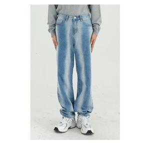 Nuevo Hombre Streetwear Moda Vintage Hip Hop pierna ancha pantalones de mezclilla hombres Bleach gradiente flojo ocasional vaqueros rectos de los pantalones