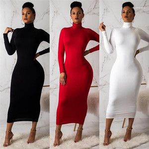 Sleeved Tops 2019 Women Designer Silk Bodycon Dress Sheath Slim Fit Long Turtle Neck Dresses Long