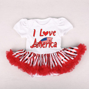 Newborn Infant Kids Stars Striped 4th Toddler Baby Girl Fourth of July Romper Tulle Dresses Outfit
