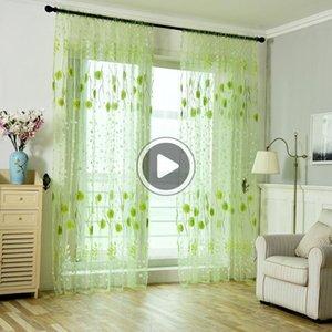 Porta finestra Cortina Foglie Veggente cortina di tulle Trattamento Finestra Voile Drape Valan 1Panel Faric Soggiorno ome Decoration Ambra