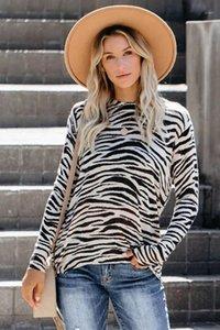 Strickoberteile Damen Kleidung der Frauen 2020 Designer-T-Shirt Herbst-Winter-lange Hülsen-gestreifte Leopard-Druck-Tarnung