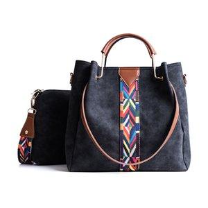 Women Fashion Handbags Colourful Straps PU Leather Hand Bag Sets Large Shoulder Bag Women Crossbody Messenger Bags Sac A Main Jefwu