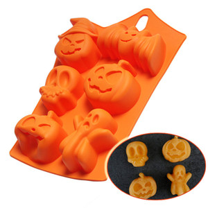 Silicone Chocolate Mould Halloween DIY Fondant Candy Mould Skull Pumpkin Bat Silicone Cookie Chocolate Mold OOA9678