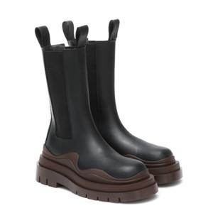 2020 nuova moda di lusso Metà di-Vitello piattaforma stivaletti PNEUMATICI stivali delle donne delle donne del progettista di avvio di design di lusso grosso stivale signora stivali 35--40