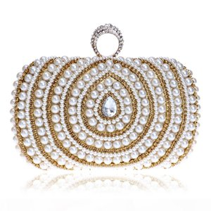 Beaded Lady Handbags Finger Ring Diamonds Purse Evening Bags Crystal Luxurious Pearl Wedding Bags For Party Dinner