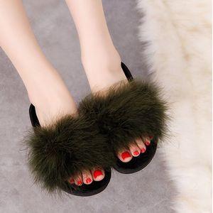 SWQZVT Fur Frauen Hausschuhe Herbst Winter im Freien Indoor-Pantoffeln Damenmode rutschfest flauschige Plüschschwellen Schuhfrauenart