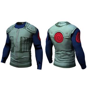 Nueva Compresión de fitness se va a hombres de la camiseta naruto naruto armadura culturismo manga larga 3d camiseta Gimnasio Tops Camisas 1005