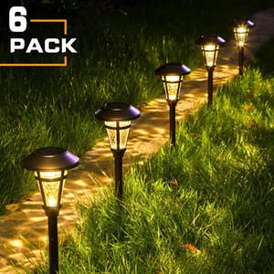 Solar Pathway Lights Outdoor,6 Pack Solar Garden Lights, Bronze Finshed, Waterproof Solar Walkway Lights Outdoor Lawn, Patio, Yard