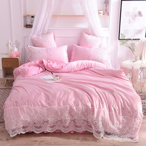 2020 New washed silk 4-piece bedding set large lace embroidered 1.8x2.0 bedsheet quilt cover 200x230 wholesale