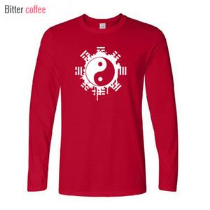 BITTER KAHVE YENİ Moda Sonbahar ve kış Marka Tişörtlü Erkekler Çin Tai Chi Ying Yang Baskılı Pamuk Giyim Tees C0925 Tops