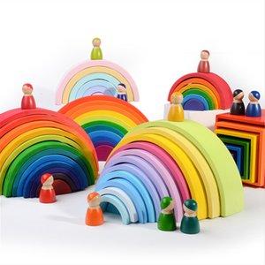 어린이 크리 에이 티브 레인보우 빌딩 블록 Montori 교육 장난감 어린이를위한 고품질 대형 무지개 스태커 나무 장난감