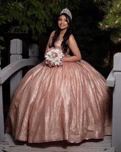 Simple Rose Gold Sequined Quinceanera Prom dresses Ball Gown Sweetheart Princess Sweet 16 15 Corset Evening Formal Gowns Plus size Cheap