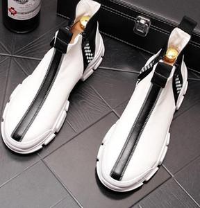 De alta qualidade sapatos de tabuleiro dos homens respiráveis altas superiores, ankle boots dos homens da moda, sapatos casuais com sola grossa, cowboy branco bootsW3