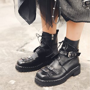 Hot Sale- Platform Metal Modern Motorcycle Boots Genuine Leather Metal Buckle Flat Black Martin Boots Lace-up Classics Plush Ankle Boots
