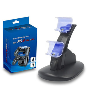 Top quality LED Dual Charger Dock Mount USB Charging Stand For PlayStation 4 PS4 Xbox One Gaming Wireless Controller With Retail Box DHL