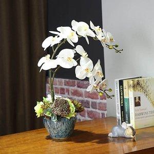 흰색 인공 난초 라텍스 난초 리얼 터치 꽃 인공 나비 난초 라텍스 난초 웨딩 홈 축제 장식