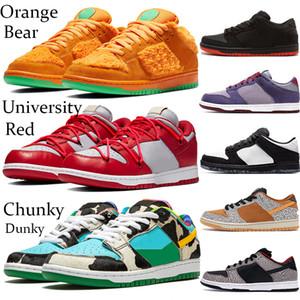 Mode faible dunk ours jaune orange Chunky chaussures de plate-forme Dunky travis Varsity royal blanc noir hommes de ciment en cours d'exécution baskets 36-45