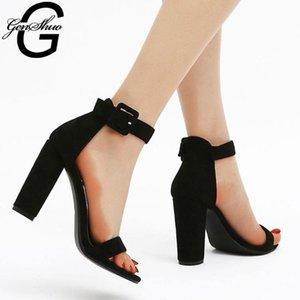 Kadınlar Yaz kalın tabanlı ayakkabıların Kadın Yüksek topuklu sandaletler için GENSHUO Bilek Kayışı Gladyatör Ayakkabı Siyah Topuklar Sandalias pompaları
