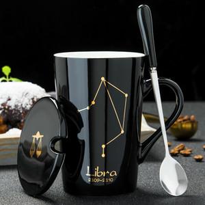 Tazze in ceramica 12 costellazioni creativo Tazze con il cucchiaio coperchio nero tazza della porcellana zodiacale Latte Coffee Cup Drinkware Coppie