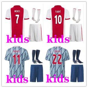 2021 Ajax FC maglie di calcio dei capretti di kit 20/21 personalizzati # 7 Neres # 9 HUNTELAAR # 10 # 11 Tadic PROMES # 22 ZIYECH Football Shirt