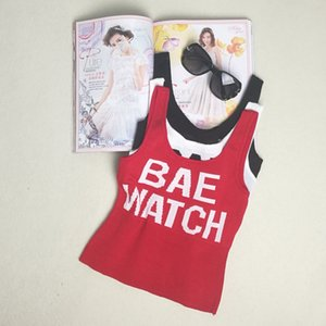 """HELIAR Women Lettering """"BAE WATCH"""" Crop Tops Sleeveless Tops Spaghetti Simple Female Sexy Embroidery Camis Crop Female"""