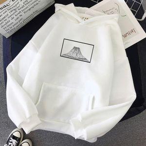 Mountain Painting Print Punk Sweatshirt Warm Streetwear Harajuku Hoodie Female Womens Jacket Long sleeved Pocket Japan Style