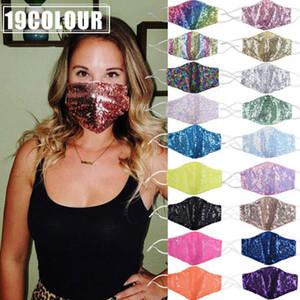 24 horas! Máscara Adulto Moda Bling lavável reutilizável PM2.5 Rosto protetor solar da cor do ouro Elbow lantejoulas brilhantes face da tampa anti-poeira Mount Ma