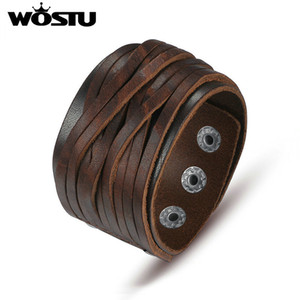 WOSTU Hot Sale Genuine Leather Wrap Vintage Brown Bracelet & Bangles For Men Women Luxury High Quality Jewelry Unisex Gift
