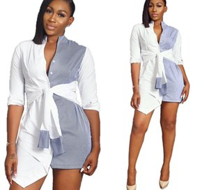 Fashion Lady Sashes Causal Long Blouses Women Clothing Sexy Womens Summer Shirt Skirt Panelled Striped Long Sleeve Shirts00