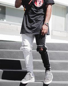 Sokak Siyah ve Beyaz Delikler Jeans Hiphop Kaykay Kalem Pantolon Yeni Erkek Biker Skinny Pantalones