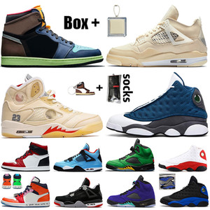 schuhe retro 1 off white x 4 sail 5 flint 13 mit Box Frauen Herren Basketballschuhe Jumpman High OG Bio Hack Chicago Travis Scott 4s 5s Turnschuhe