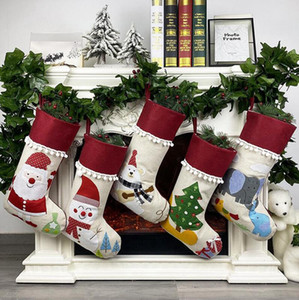 Natale Lino calza decorazioni Santa Snowman Xmas Tree Hanging Calze per bambini da regalo sacchetti di immagazzinaggio Albero di Natale a sospensione sacchetto del regalo LJJP266
