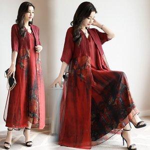 abUeK 2020 estilo étnico impresso chiffon terno das mulheres InVgG verão novo tamanho Suit nacionalidade Grupo elegante solto grande étnico de comprimento médio all-m