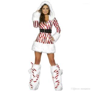 Christmas Striped Costume Designer Stage Dress Xmas Santa Clause Costumes Women