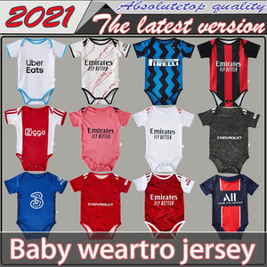 2020 2021 Jerseys de football bébé 6 à 18 mois Chemises de football Shirts Ball enfant Kits d'escadre Body Body Crawling Vêtements Maillots Futbol Top Qualité