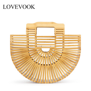 Lovevook women handbags bamboo bags summer bags for travel handmade woven beach bags luxury women designer with top-handle