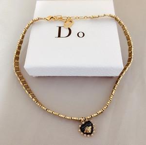 Collar Dijia abeja collar del collar del ventilador forma de corazón collar de bronce femenino femenino Dijia en forma de corazón collar de abeja hembra