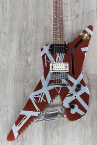 Edward Van Halen Striped Serie Shark Satin Urethane Burgundy Silber Stripes elektrische Gitarren-Chrom-Augen-Haken w / Turnbuckles, Braid Draht