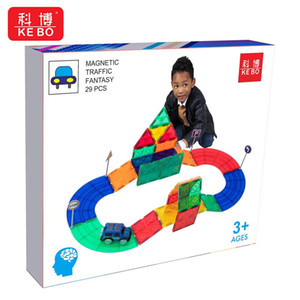 29-105pcs DIY Magnetic Constructor Track Traffic Big Bricks Magnetic Building Blocks Designer Set Magnet Children Toys